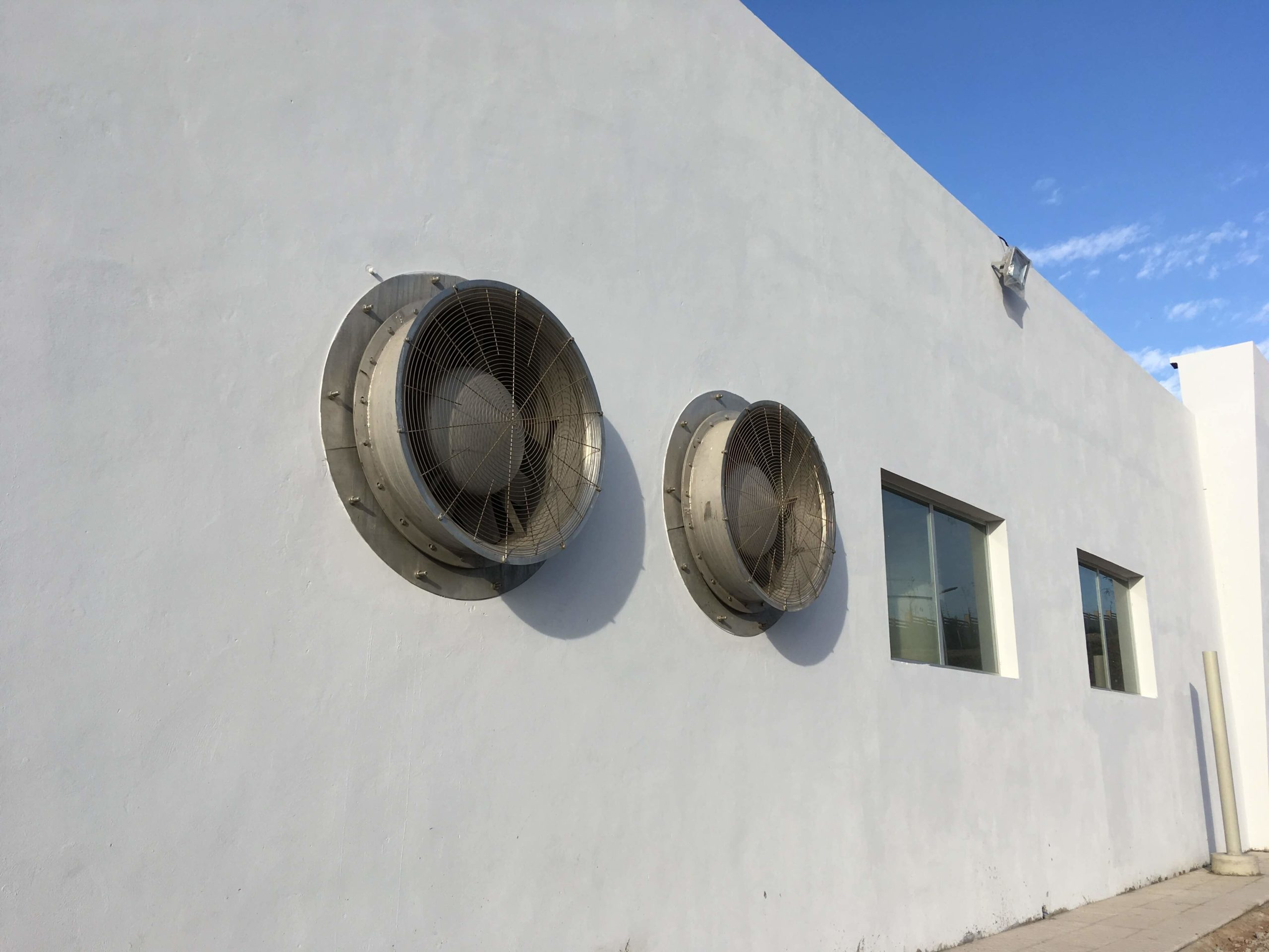 Outside view of two fans